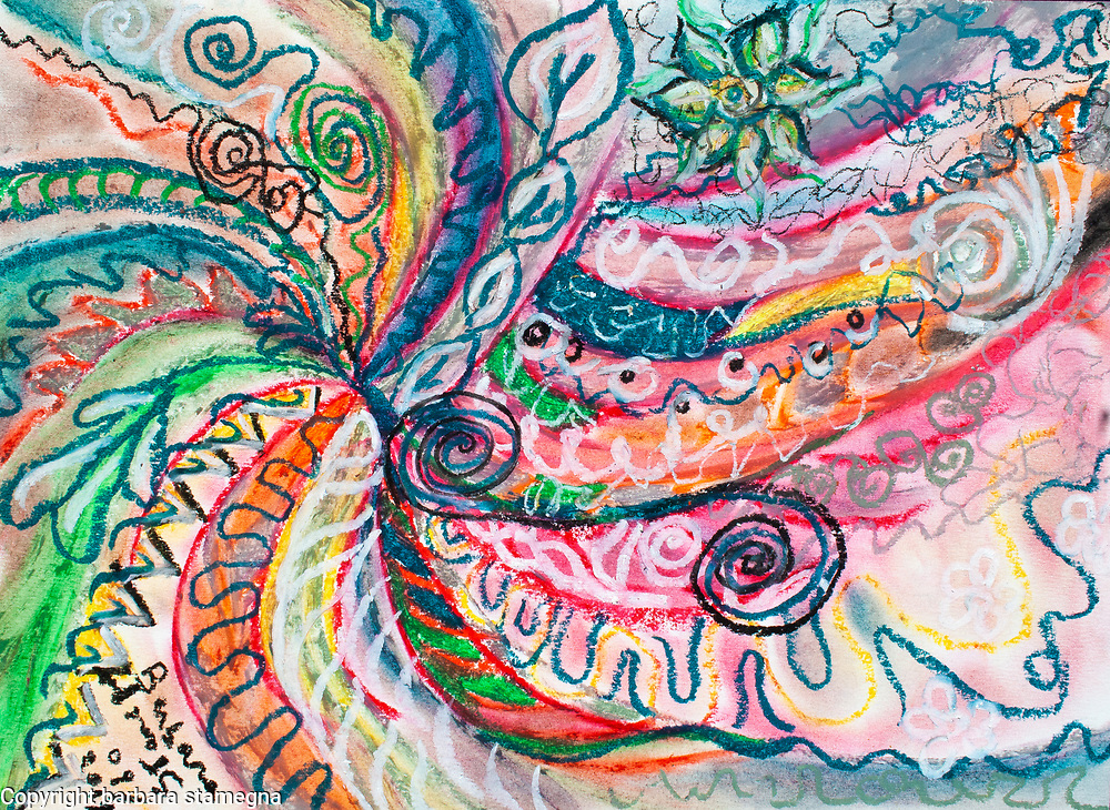 abstract concentric nature creation in tones of pink,blue,green,orange,black and white with curls and shapes of nature.