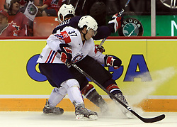 Mitja Robar (37) of Slovenia and David Backes (42) at ice-hockey match USA vs Slovenia at Preliminary Round (group B) of IIHF WC 2008 in Halifax, on May 04, 2008 in Metro Center, Halifax, Nova Scotia, Canada. (Photo by Vid Ponikvar / Sportal Images)