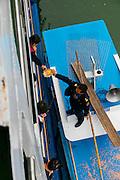 Market boat selling to cruise ship, Yangtze River, China