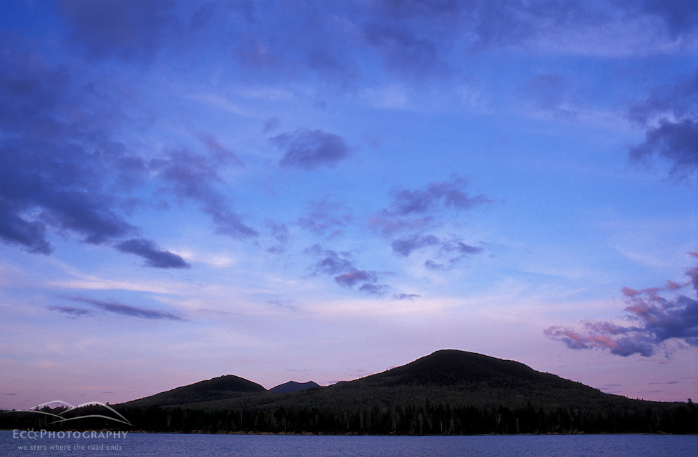Eustis, ME. The peaks of Maine's Bigelow Preserve at dusk.   Dead River.  Spring. Northern Forest.