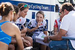 Doris Schweizer hatches a plan for stage 1 at the Ladies Tour of Norway.