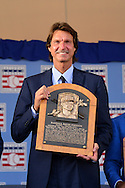 COOPERSTOWN, NY - JULY 26: Inductee Randy Johnson poses with his plaque after the Induction Ceremony at National Baseball of Hall of Fame on July 26, 2015 in Cooperstown, New York. (Photo by Jennifer Stewart/Arizona Diamondbacks/Getty Images)