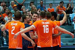 10-08-2019 NED: FIVB Tokyo Volleyball Qualification 2019 / Belgium - Netherlands, Rotterdam<br /> Third match pool B in hall Ahoy between Belgium vs. Netherlands (0-3) for one Olympic ticket / Robbert Andringa #18 of Netherlands, Maarten van Garderen #3 of Netherlands