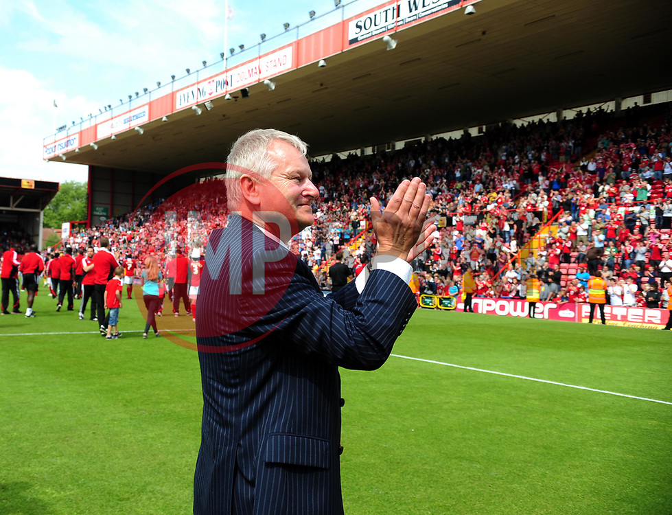 Bristol City Chairman Steve Lansdown makes an emotional appearance after the game in his last game as Chairman - Photo mandatory by-line: Joe Meredith/JMP - 07/05/2011 - SPORT - FOOTBALL - Championship - Bristol City v Hull City  - Ashton Gate Stadium, Bristol, England