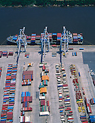 Aerial photograph of containerized freight awaits loading onto a ship at the Port of Savannah Georgia.