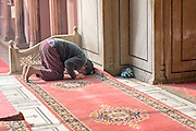 INDIA, OLD DELHI:  Devout Muslim man kneeling towards Mecca to pray in the Jama Masjid Mosque in Old Delhi, India.