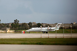 An Irish Air Corps Learjet 45 plane is seen at Malta International Airport outside Valletta February 23, 2011. Two Irish Air Corps planes have been based in Malta since Wednesday morning in readiness to fly to Libya to evacuate Irish nationals.  One left for Libya Wednesday late afternoon, according to witnesses..Photo by Darrin Zammit Lupi
