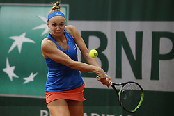 May 21, 2019 - Paris, France - Rebecca Sramkova during the match between Rebecca Sramkova of SVK vs Shuai Peng of CHN in the first round qualifications of 2019 Roland Garros, in Paris, France, on May 21, 2019. (Credit Image: © Ibrahim Ezzat/NurPhoto via ZUMA Press)