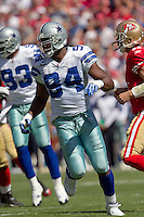 18 September 2011: Linebacker (94) DeMarcus Ware of the Dallas Cowboys against the San Francisco 49ers during the first half of the Cowboys 27-24 overtime victory against the 49ers in an NFL football game at Candlestick Park in San Francisco, CA
