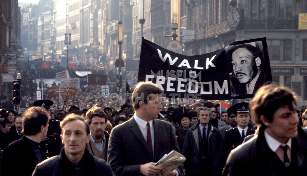 People marching at a Civil Rights, Peace demonstration, London, UK 1970