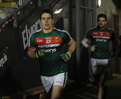 Returning to the fold&hellip;.Mayo wing back Lee Keegan pictured running out at McHale park for the league match against Dublin.<br /> Pic Conor McKeown
