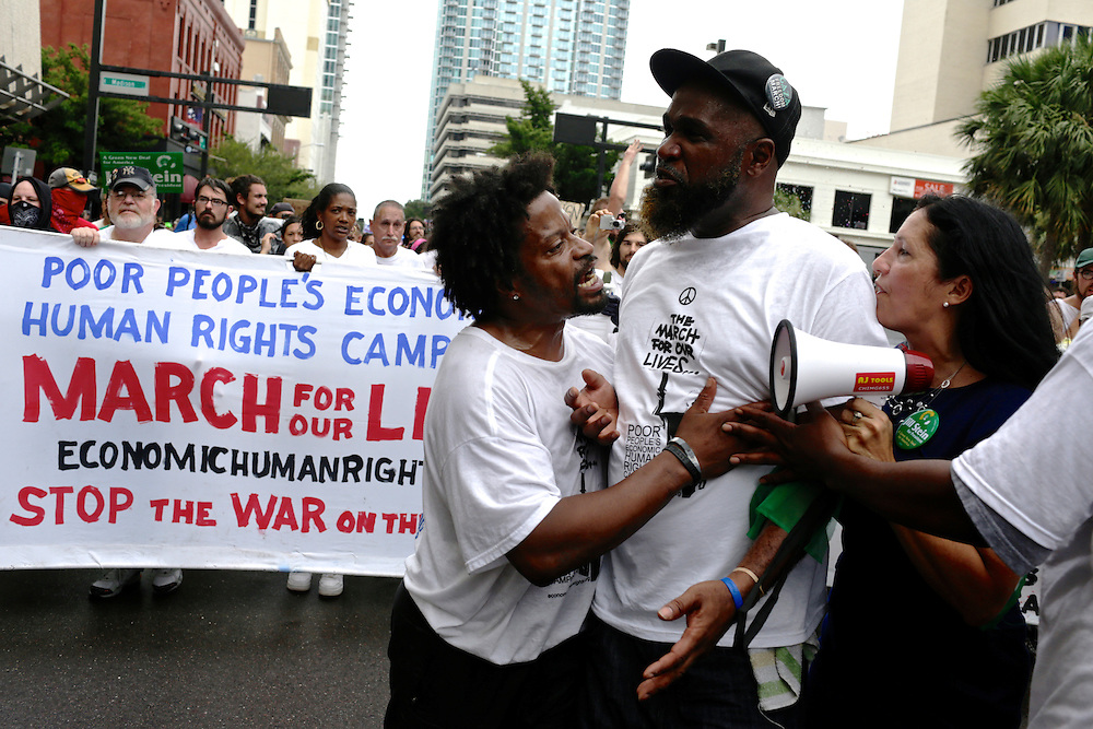 Protestors march during the 2012 Republican National Convention in Tampa, Fla. on Aug. 27, 2012.