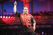 Brendan Dolan celebrates winning a leg during the First Round of the BetVictor World Matchplay Darts at the Empress Ballroom, Blackpool, United Kingdom on 19 July 2015. Photo by Shane Healey.