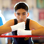 11/3/16 &ndash; Boxing &ndash; <br /> <br /> Anthony Sarmiento, 16, takes a moment for a portrait during his training session at La Habra Boxing Club in La Habra, Calif., Nov. 3, 2016.  Sarmiento has been a member of the boxing club for 9 years.<br /> <br /> Photo by Seth Laubinger / Sports Shooter Academy