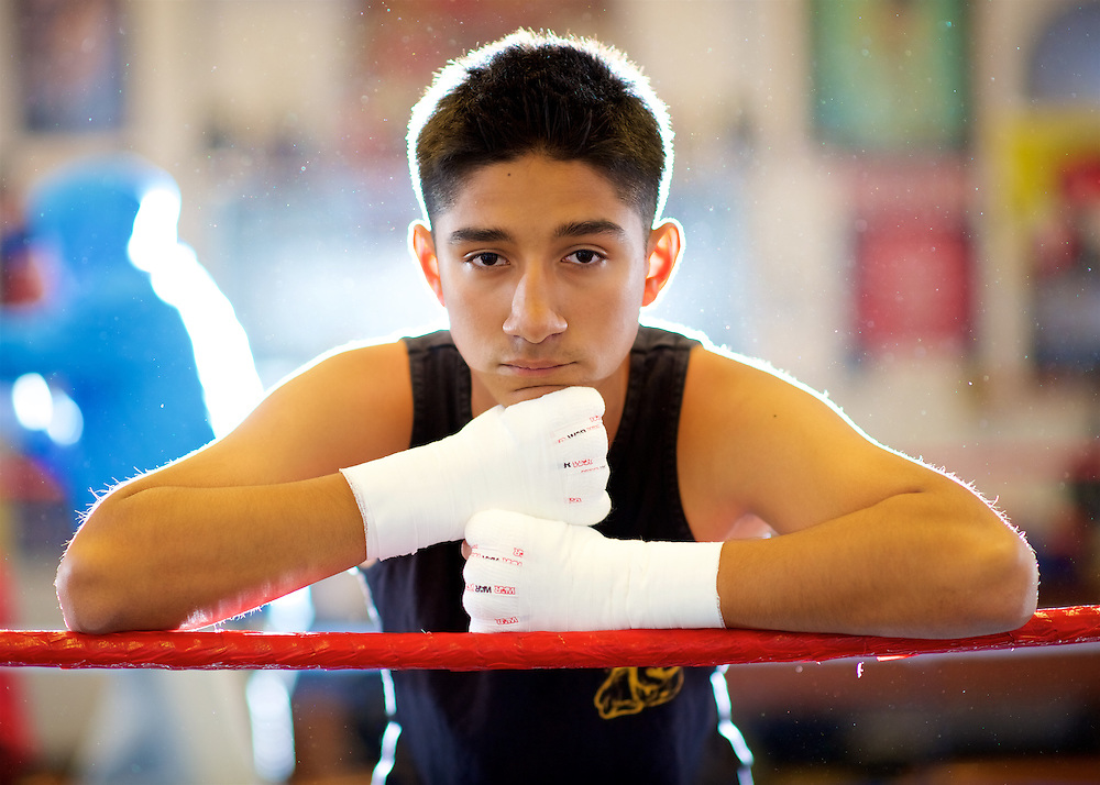 11/3/16 – Boxing – <br /> <br /> Anthony Sarmiento, 16, takes a moment for a portrait during his training session at La Habra Boxing Club in La Habra, Calif., Nov. 3, 2016.  Sarmiento has been a member of the boxing club for 9 years.<br /> <br /> Photo by Seth Laubinger / Sports Shooter Academy