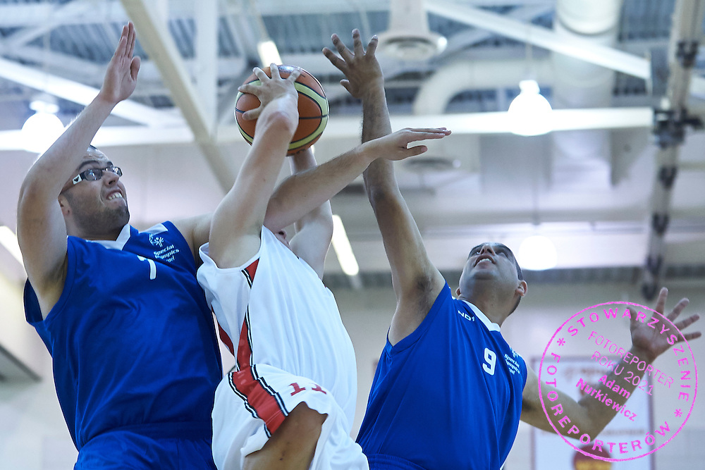 SO Poland athlete in action while basketball match SO Poland v SO Israel during second day of the Special Olympics World Games Los Angeles 2015 on July 26, 2015 on Galen Center at University of Southern California in Los Angeles, USA.<br /> USA, Los Angeles, July 26, 2015<br /> <br /> Picture also available in RAW (NEF) or TIFF format on special request.<br /> <br /> For editorial use only. Any commercial or promotional use requires permission.<br /> <br /> Adam Nurkiewicz declares that he has no rights to the image of people at the photographs of his authorship.<br /> <br /> Mandatory credit:<br /> Photo by &copy; Adam Nurkiewicz / Mediasport