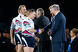 Referee Nigel Owens is congratulated by Prince Harry after New Zealand win the match 34-17 to become 2015 World Cup Champions - Mandatory byline: Rogan Thomson/JMP - 07966 386802 - 31/10/2015 - RUGBY UNION - Twickenham Stadium - London, England - New Zealand v Australia - Rugby World Cup 2015 FINAL.