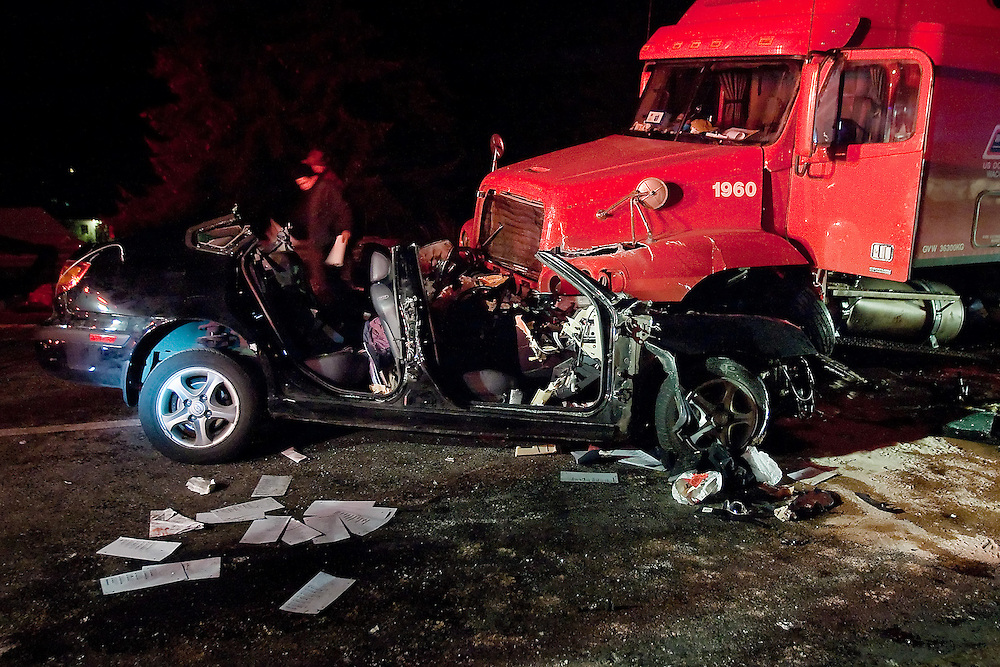 JEROME A. POLLOS/Press..Andrew Gumprecht was killed when his sedan collided head-on with a semi late Tuesday after Gumprecht headed westbound on the eastbound lanes of Interstate 90 at the Sherman Avenue exit in Coeur d'Alene.