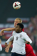 (L)Poland's Kamil Glik fights for the ball with (R) England's Daniel Sturridge during the 2014 World Cup Qualifying Group H football match between England and Poland at Wembley Stadium in London on October 15, 2013.<br /> <br /> Great Britain, London, October 15, 2013<br /> <br /> Picture also available in RAW (NEF) or TIFF format on special request.<br /> <br /> For editorial use only. Any commercial or promotional use requires permission.<br /> <br /> Mandatory credit:<br /> Photo by &copy; Adam Nurkiewicz / Mediasport