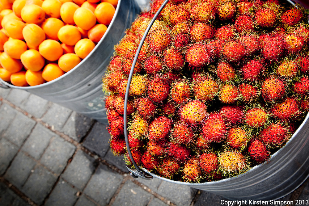 Selling Rambutans and Apricots on the Street in Cholula