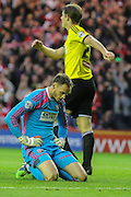 A disconsolat David Button after Middlesboroughs second goal during the Sky Bet Championship Play Off Second Leg match between Middlesbrough and Brentford at the Riverside Stadium, Middlesbrough, England on 15 May 2015. Photo by Simon Davies.