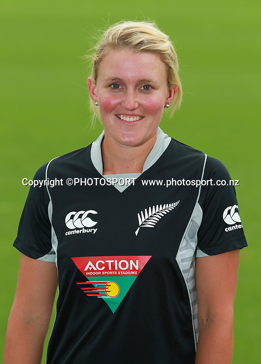 Elizabeth Perry. Action New Zealand White Ferns head shots, Bert Sutcliffe Oval, Lincoln University, Thursday 29 December 2011. Photo : Joseph Johnson / photosport.co.nz