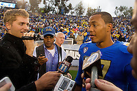 17 October 2012: Quarterback (17) Brett Hundley of the UCLA Bruins is interviewed by the media after defeating the USC Trojans 38-28 at the Rose Bowl in Pasadena, CA.