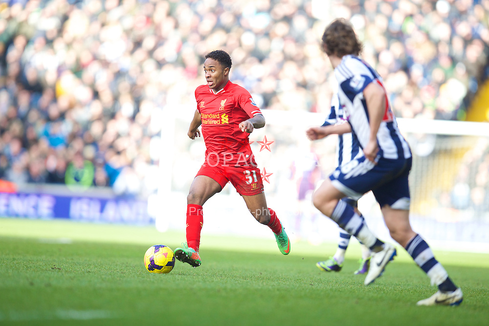 WEST BROMWICH, ENGLAND - Sunday, February 2, 2014: Liverpool's Raheem Sterling in action against West Bromwich Albion during the Premiership match at the Hawthorns. (Pic by David Rawcliffe/Propaganda)