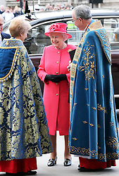 The Queen arrives at the annual Commonwealth Observance at Westminster Abbey in London, Monday, 10th March 2014. Picture by Stephen Lock / i-Images