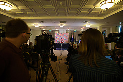 CARDIFF, WALES - Tuesday, March 22, 2016: Wales' Sam Vokes during a press conference at the Vale of Glamorgan Hotel ahead of the International Friendly match against Northern Ireland. (Pic by David Rawcliffe/Propaganda)