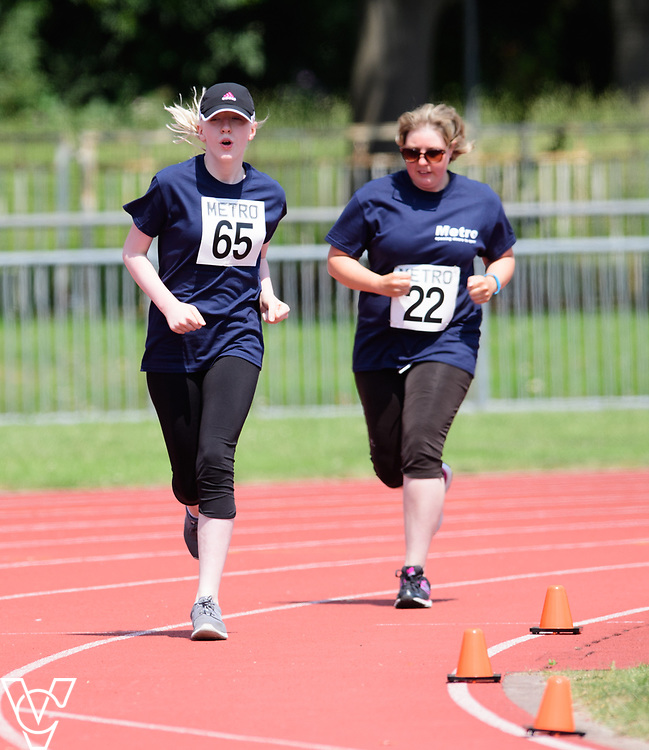 Metro Blind Sport's 2017 Athletics Open held at Mile End Stadium.  800m.  Emma Quigley, left, and Ruth Stacey<br /> <br /> Picture: Chris Vaughan Photography for Metro Blind Sport<br /> Date: June 17, 2017