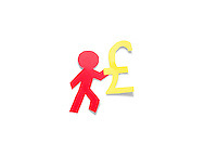 A red stick figure holding pound sign over white background