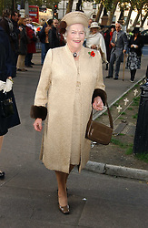 The HON.LADY SOAMES at the wedding of Clementine Hambro to Orlando Fraser at St.Margarets Westminster Abbey, London on 3rd November 2006.<br />