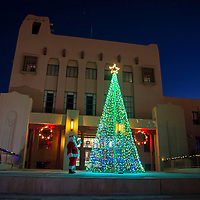 Santa standing next to the tree as they turn the lights on, Saturday Nov. 24 in front of the McKinley County Courthouse in Gallup.