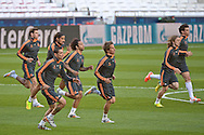 Gareth Bale of Real Madrid (left) pictured with Real Madrid team mates during Real Madrid training at Estádio da Luz, Lisbon<br /> Picture by Ian Wadkins/Focus Images Ltd +44 7877 568959<br /> 23/05/2014