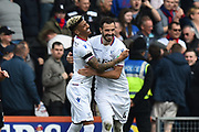 Goal - Luka Milivojevic (4) of Crystal Palace celebrates scoring a goal to give a 0-1 lead to the away team with Patrick van Aanholt (3) of Crystal Palace during the Premier League match between Bournemouth and Crystal Palace at the Vitality Stadium, Bournemouth, England on 7 April 2018. Picture by Graham Hunt.
