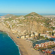 Aerial view of playa Solmar and hotels in Cabo San Lucas. Baja California Sur, Mexico.