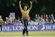 Hampshire all-rounder Gareth Andrew celebrates the wicket of Middlesex T20 captain, batsman Dawid Malan during the NatWest T20 Blast South Group match between Middlesex County Cricket Club and Hampshire County Cricket Club at Uxbridge Cricket Ground, Uxbridge, United Kingdom on 27 May 2016. Photo by David Vokes.