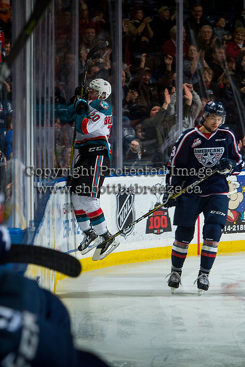 KELOWNA, CANADA - JANUARY 3: Conner Bruggen-Cate #20 of the Kelowna Rockets jumps to the glass to celebrate a goal with fans against the Tri-City Americans on January 3, 2017 at Prospera Place in Kelowna, British Columbia, Canada.  (Photo by Marissa Baecker/Shoot the Breeze)  *** Local Caption ***