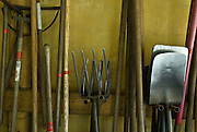 Marin County, California, August, 2008- Farm tools in a shed at the Green Gulch Farm Zen Center. The center manages an organic farm and gardens. It was founded in 1972 and is near Muir Beach on the California coast.