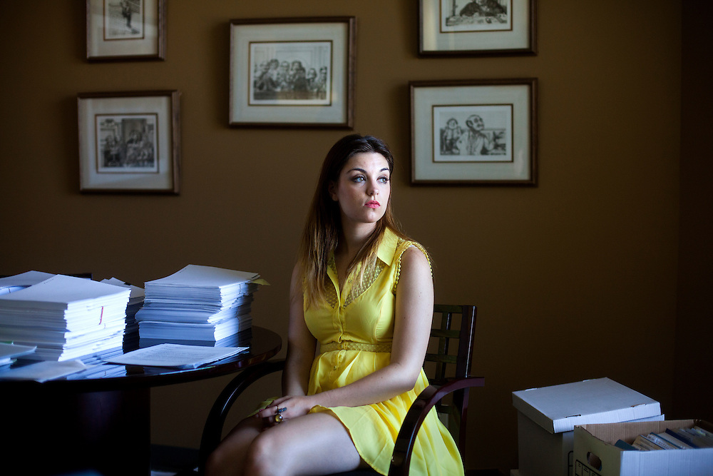Taylor Peyton. a plaintiff in a lawsuit alleging that she was mistreated in an addiction recovery home, poses for a portrait at her attorney's office on Saturday, May 3, 2014, in San Diego, California, U.S.