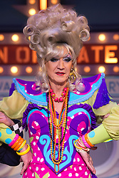 """© Licensed to London News Pictures. 11/12/2012. London, England. Lily Savage, aka Paul O'Grady, stars as the Widow Twankey in the Christmas panto """"Aladdin, A Wish Come True"""" at the Theatre at the O2, O2 Arena, London. Photo credit: Bettina Strenske/LNP"""