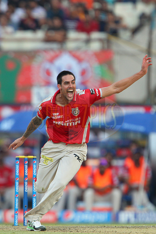 Mitchell Johnson of the Kings X1 Punjab reacts after a delivery during the first qualifier match (QF1) of the Pepsi Indian Premier League Season 2014 between the Kings XI Punjab and the Kolkata Knight Riders held at the Eden Gardens Cricket Stadium, Kolkata, India on the 28th May  2014<br /> <br /> Photo by Ron Gaunt / IPL / SPORTZPICS<br /> <br /> <br /> <br /> Image use subject to terms and conditions which can be found here:  http://sportzpics.photoshelter.com/gallery/Pepsi-IPL-Image-terms-and-conditions/G00004VW1IVJ.gB0/C0000TScjhBM6ikg