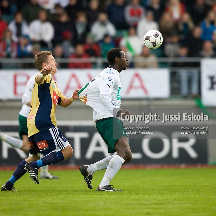 Samuel Barlay, Tuomas Haapala. IFK Mariehamn - HJK. Veikkausliiga. Maarianhamina 28.4.2008. Photo: Jussi Eskola