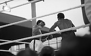 Ali vs Lewis Fight, Croke Park,Dublin..1972..19.07.1972..07.19.1972..19th July 1972..As part of his built up for a World Championship attempt against the current champion, 'Smokin' Joe Frazier,Muhammad Ali fought Al 'Blue' Lewis at Croke Park,Dublin,Ireland. Muhammad Ali won the fight with a TKO when the fight was stopped in the eleventh round...Image of Lewis after ha landed a good left on Ali's head.