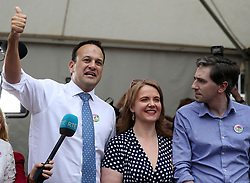 An Taoiseach Leo Varadkar (left), Minister for Health Simon Harris (right) and Senator Catherine Noone at Dublin Castle for the results of the referendum on the 8th Amendment of the Irish Constitution which prohibits abortions unless a mother's life is in danger. Picture date: Saturday May 26, 2018. See PA story IRISH Abortion. Photo credit should read: Brian Lawless/PA Wire