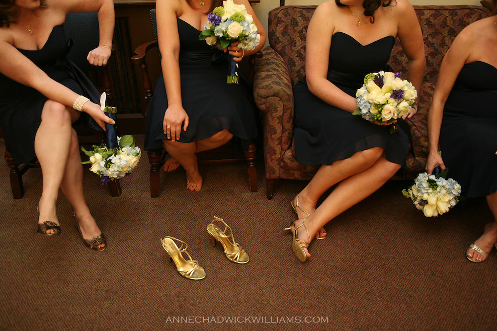 Bridesmaids rest their feet before a Sacramento Westminster Presbyterian Church wedding.