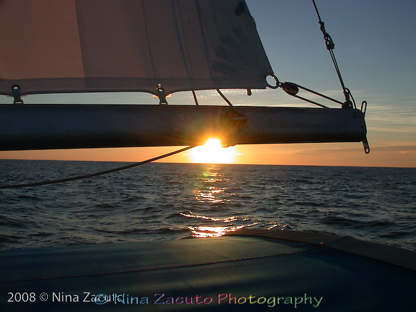Sunset seen from a sailboat in the Pacific Northwest.