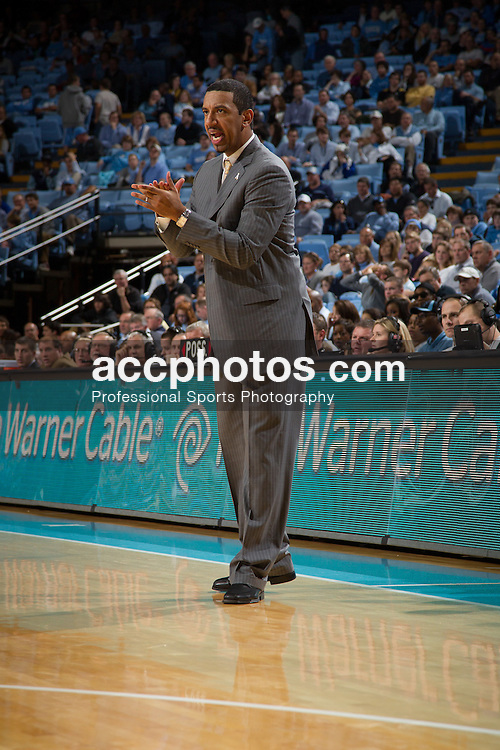 CHAPEL HILL, NC - DECEMBER 17: Head coach Jason Capel of the Appalachian State Mountaineers coaches his team while playing the North Carolina Tar Heels on December 17, 2011 at the Dean E. Smith Center in Chapel Hill, North Carolina. North Carolina won 82-97. (Photo by Peyton Williams/UNC/Getty Images) *** Local Caption *** Jeff Capel