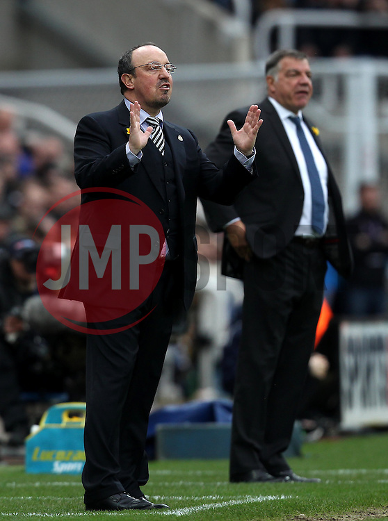 Newcastle United Manager Rafa Benitez and Sunderland Manager Sam Allardyce occupy their technical areas - Mandatory byline: Robbie Stephenson/JMP - 20/03/2016 - FOOTBALL - ST James Park - Newcastle, England - Newcastle United v Sunderland - Barclays Premier League